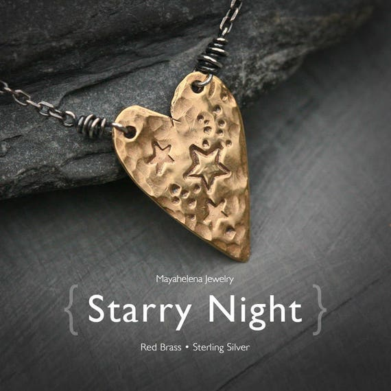 Starry Night in my Heart -Textured Heart Brass Tag Necklace