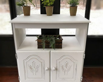 Adorable White Cabinet WITH WHEELS , Rustic Bathroom Cabinet , Vintage  Liquor Cabinet ,Solid Wood