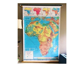 Vintage world map tapestry etsy map of africa 65 pull down map african pull down map hanging wall gumiabroncs Image collections