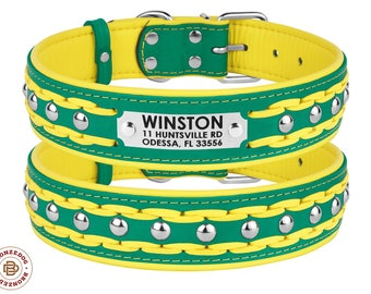 Personalized Studded Dog Collar Leather Braided Extra Large Soft Padded Turquoise Yellow