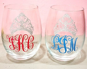 Custom Crown and Monogram Wine glass! Stem or Stemless! ANY COLOR!