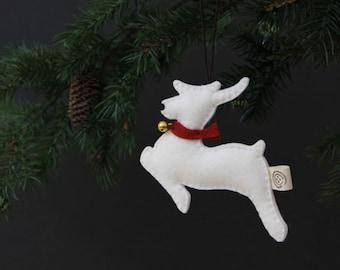 Nikkie van vilt rendieren Ornament - wit