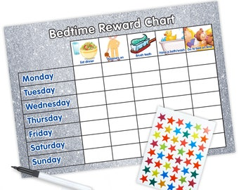 Re-usable Bedtime Reward Chart (including FREE Stickers and Pen) - Silver Glitter Design