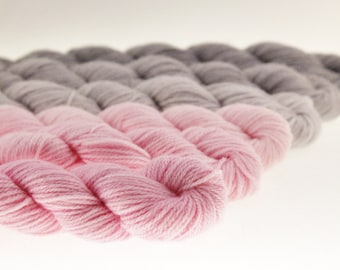 Mini Skein Ombre Gradient Yarn Choose Your Base -  Pale Shabby Chic