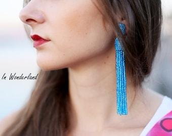 Sparkle blue tassel earrings beaded tassel earrings oscar de la renta earrings blue statement earrings fringe earrings boho earrings