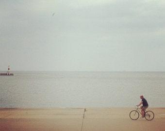 Biking along the lake, blue, water, bike, lake, Lake Michigan, Chicago, photograph