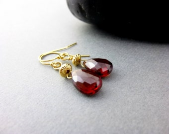 Garnet Chakra Earrings, AAA Mozambique Garnet, January Birthstone, Red Gemstones, Healing Crystals Jewelry, Gift for Her