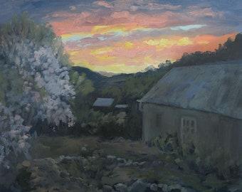 Springtime Dixon Dawning - Dixon, New Mexico - Original Oil Plein Air Landscape Painting