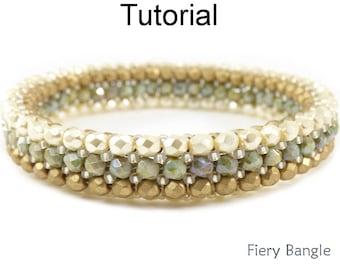 Bracelet Beading Pattern - Beaded Bangle - Herringbone Stitch Jewelry Making Tutorial - Simple Bead Patterns - Fiery Bangle #26381