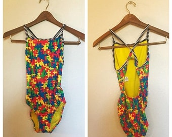 SHOP SALE Vintage 90s Puzzle Piece and Striped One Piece Swim Suit