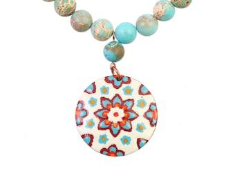 Enameled copper necklace