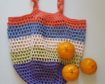 Natural Cotton String Bag, Crochet Bag, Reusable Shopping Bag, Ecofriendly, Zero Waste, Soft Bag, Grocery Tote, Foldable Bag, Handmade