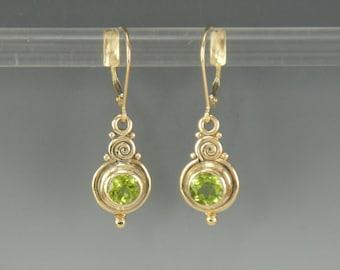 14ky Gold Peridot Earrings/ August Birthstone/ Gift for Her/ Green Gemstone Earrings/ Victorian Earrings/ Egyptian Earrings/ One of a Kind
