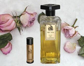 Vintage MY SIN Eau de Lanvin Parfum - 2 Fluid Oz. Splash by Lanvin Parfums - 3/4 Full With 1/8 Oz Size Original Spray or Refill Bottle