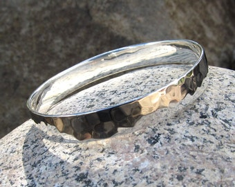 Sterling Silver Hammered Bangle Bracelet, Solid Sterling