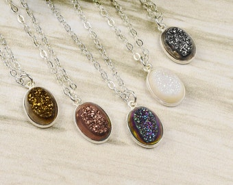 Dainty Druzy Necklace -  Druzy Pendant Necklace - Silver Druzy Necklace -  Trendy Necklace - Druzy Jewelry - Mother Gift from Daughter