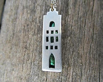 Amsterdam House No 2 Sterling Silver and Beetlewing Necklace