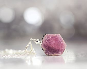 Raw Ruby Necklace - Rough Ruby Pendant - July Birthstone - Ruby Jewelry - Raw Ruby Jewellery - Fine Jewelry For Women