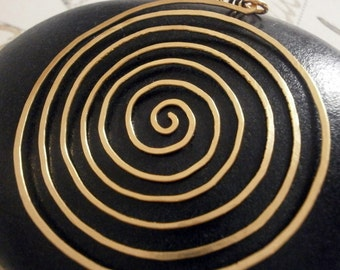 Large Gold Spiral Labyrinth Pendant for Necklace Big Gold Circle Pendant Hammered Wire Jewelry Meditation Jewelry Swirl Pendant