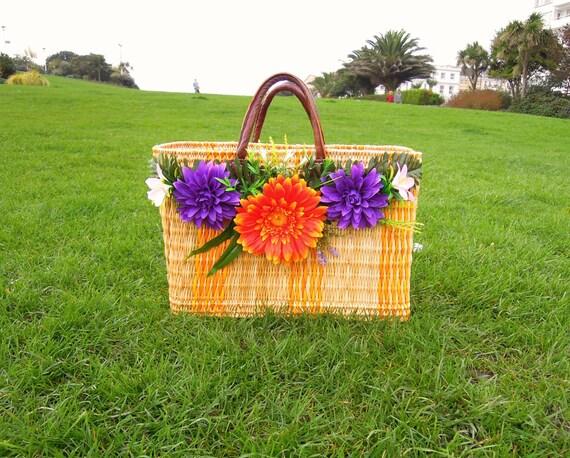 Sunflower market bag  Wicker flower basket OOAK Large straw basket decorated with flowers Gift for her. UK Seller