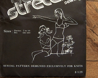 """vintage 1972 sewing pattern stretch sewing knit fabric childrens panties sz 2-14 and """"beginners"""" bra one size uncut"""
