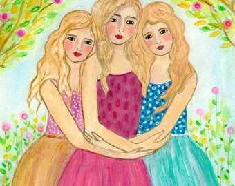 Three Blonde Sisters Art Print On Wood, Three Blonde Best Friends Art, Best Friends Sister Gift, Sister Art Print on Wood