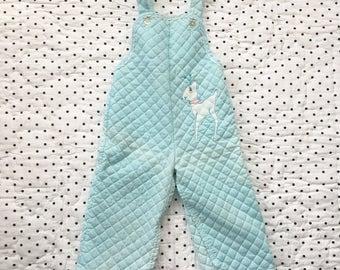 Vintage Blue Quilted Deer Overalls Girls Sz 12 18 months