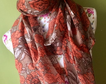 New Vintage style Ladies Scarf Scarves Wrap women's rust orange and brown Floral Pattern boxed wrapped 24 hr dispatch Kirsche gift