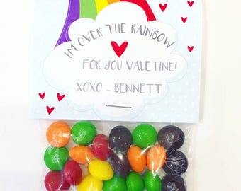 Rainbow Skittles Valentines Printable Cards | INSTANT DOWNLOAD