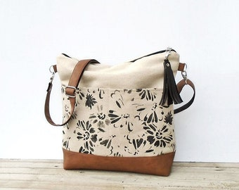 Canvas large bag zipper, crossbody purse Jute, shoulder bag with pockets, canvas hobo crossbody bag, vegan leather purse, canvas tote bag