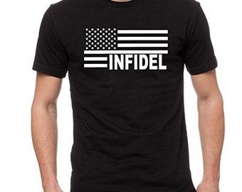 Infidel U.S. Flag Men's T-Shirt Military MMA Shirt Tee Cotton