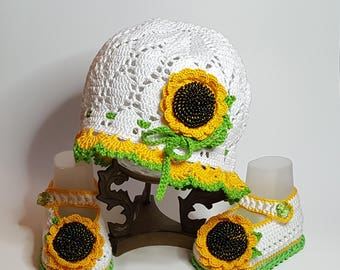 Sunflower baby girl hat and booties