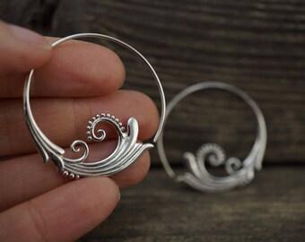 Sterling Silver Hoop Earrings - Tribal Hoop Earrings - Spiral Earrings - Fine Jewelry - Medium Hoop Earrings - Art Nouveau Earrings (s41)