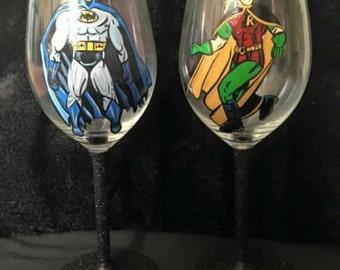 Batman and robin wine glass