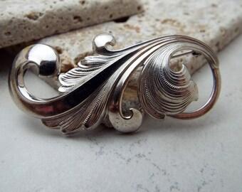 Silver Swirl Brooch Pin Beautiful