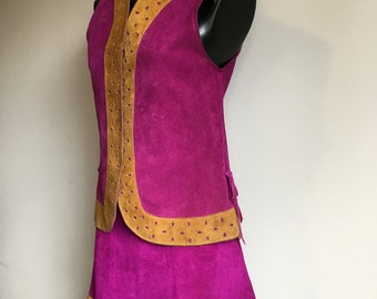 Unique Mod Go Go Suede / Purple Pink Two Piece / With Camal Coloured Trim / Vest And Skirt