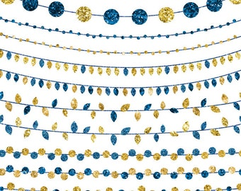 Glitter Gold and Navy Wedding Clipart Set, Instant Digital Download, Commerical Use String Light Clip Art