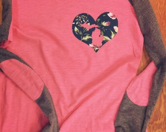 Michigan floral applique Preppy Patch long sleeve tee AT71003