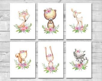 Woodland Nursery Decor 6 Prints Set, Woodland Animal Prints, Woodland Nursery Prints, Boho Woodland Animals, Forest Animals Nursery Wall Art