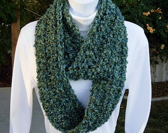 INFINITY LOOP Skinny SCARF Blue & Green Extra Soft Acrylic Crochet Knit Winter Eternity Circle Cowl, Neck Warmer..Ready to Ship in 2 Days