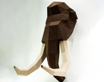 Mammoth Head,Mammoth paper, Mammoth lowpoly, Paper Trophy Mammoth,papercraft,3D Puzzle diy, DIY, 3D, trophy, papermodel, wall decoration