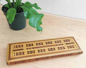 Vintage Hand Made Wood Inlay Cribbage Board