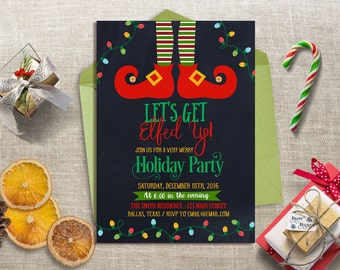 Let's Get Elfed Up Party Invitation, Christmas Party Invitation, Funny Christmas Party Invitation, Holiday Party Invite, Xmas Party Invite
