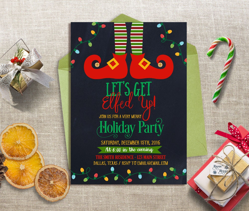 Lets Get Elfed Up Party Invitation Christmas Party