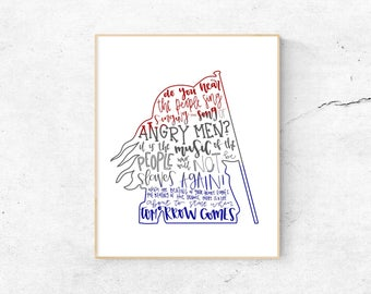 Les Miserables Musical Silhouette Print | Hand-Lettered | Red, White, and Blue | Digital Download