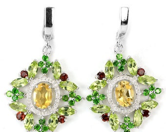 Young Queen Victoria 14k White Gold Vermeil Citrine Garnet Peridot Chrome Diopside Baroque Cluster Dropper Earrings - Truly Venusian