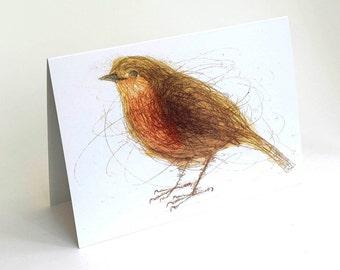 Robin Card, Greeting Card, Art Card of Bird, Christmas Card, Bridget Farmer Card, British Bird, Irish Bird