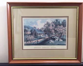 CURRIER & IVES AMERICAN Homestead Spring Print, Vintage Print, Framed Lithograph, American Art, Homestead Series, Sheep