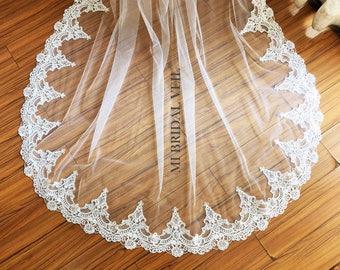 Cathedral Wedding Veil, Lace on Bottom, Wide Lace Veil, Lace Wedding Veil, Long Lace Veil, Single Tier Veil , Mi Bridal Veil