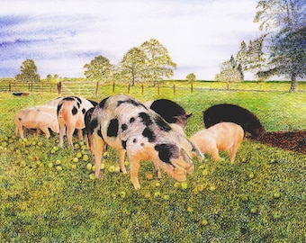 "Greetings card: ""Apple feast"" - pig card, spotted pigs, animal card, farm scene, apples, country scene, from a painting by Dave Marsh"